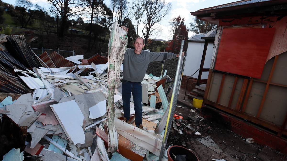 TERRIBLE LOSS: Dean Sweeney lost his home to the bushfires earlier this year. He is still in the process of repairs, and will be for some time. Picture: Les Smith
