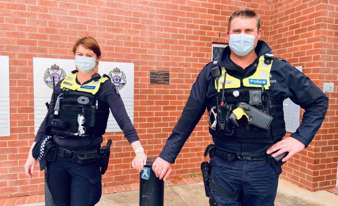 SISTER-BROTHER DUO: Constable Lacey Evans and Senior Constable Cohan Newton are now stationed together as police officers in Wangaratta. Picture: SHANA MORGAN