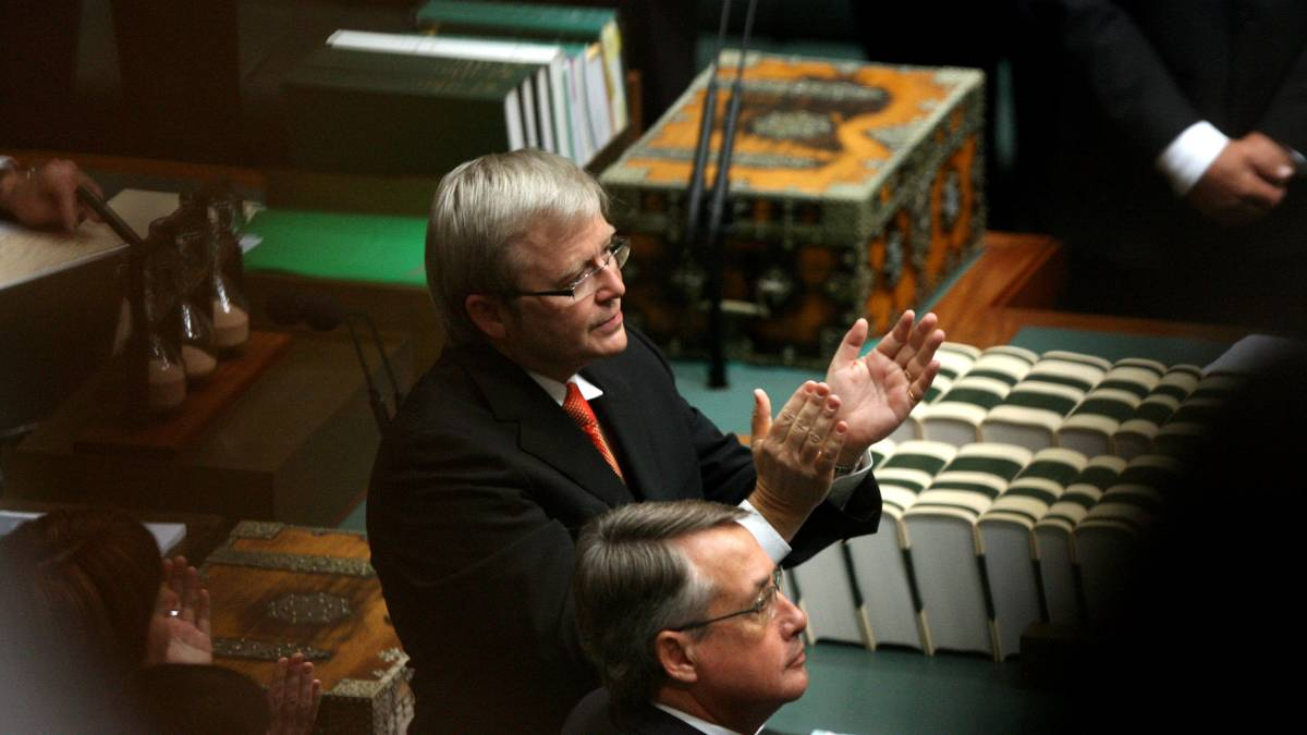 STILL WAITING: Prime Minister Kevin Rudd stands to applause after his speech apologising to the Aboriginal Stolen Generation on February 13, 2008 but compensation still hasn't been provided for those taken from their families.