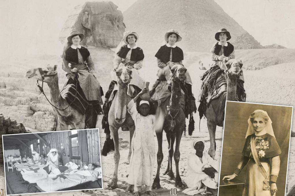 Australian nurses in Egypt during the First World War, and, inset, nurses treating wounded soldiers and Dame Maud McCarthy. Pictures: Australian War Memorial
