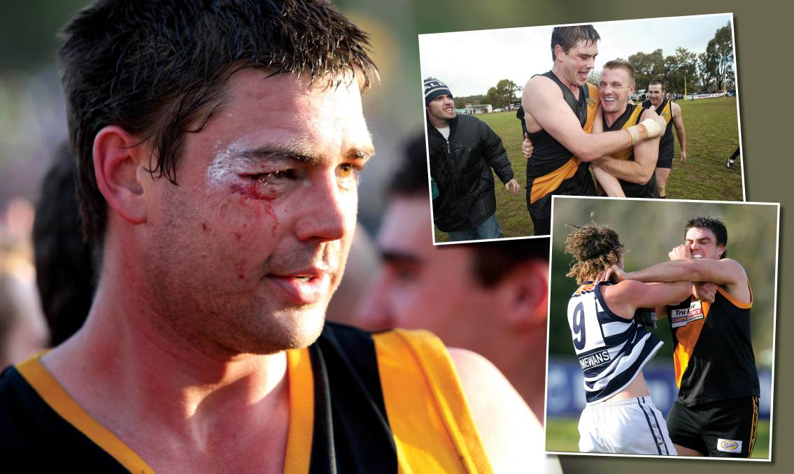 Cal McClay wears the scars of battle after the 2009 premiership win over Yarrawonga (main pic), while he tangles with Yarrawonga hard man Kyle Archibald (bottom) and celebrates Osborne's 2005 flag.