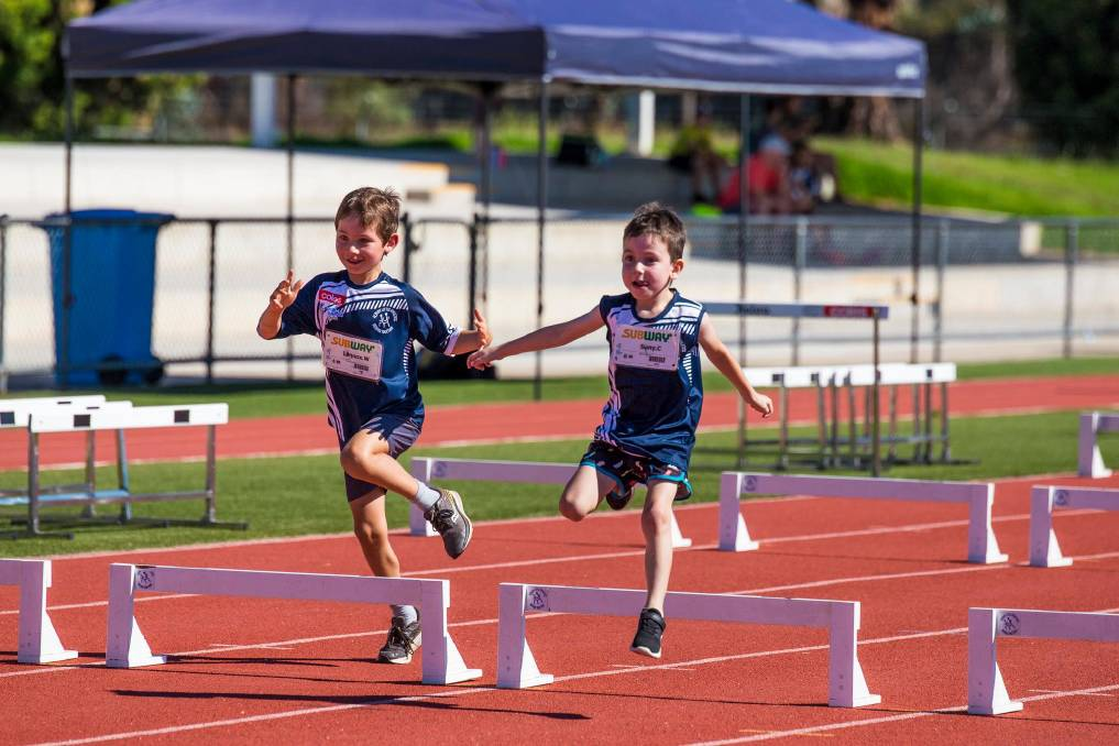 OBSTACLES: Albury Little Athletics Centre continued its weekend competition on Saturday and were finished just in time to beat the heat. Picture: ANTHEA ENGLISH