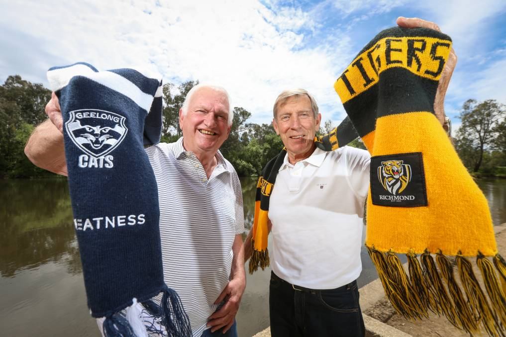 BIG STAGE: Border football and business identities John Sharrock and John Perry both featured the last time the Geelong and Richmond played in a grand final back in 1967. Picture: JAMES WILTSHIRE