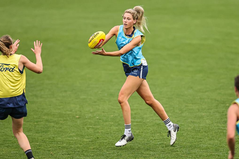 GAME TIME: Albury's Olivia Barber will play for the first time in almost 12 months when she lines up for Geelong in an AFLW practice match against Melbourne at GMHBA Stadium today. Picture: ARJ GIESE