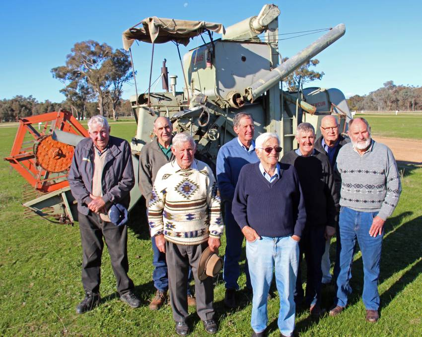 The veterans of the 1961 header school at Henty were pictured for the 50th anniversary event in 2013, from left, Laurie Sone, Barry Scholz, the late Colin Wood, Kerry Pietsch, Len Schilg, front row, Neville Male, Milton Taylor and Max Hogg. Photo: Kim Woods