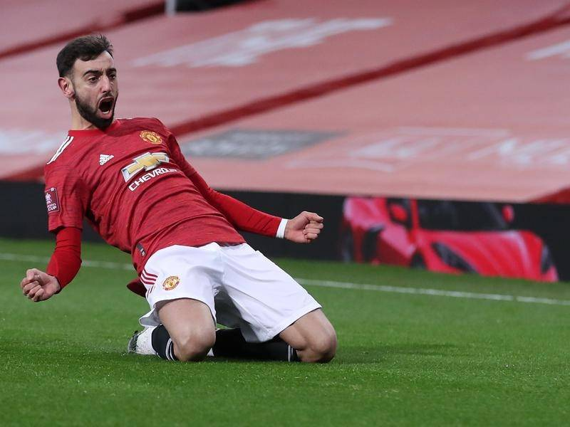Manchester United's Bruno Fernandes celebrates scoring the winner in the FA Cup tie with Liverpool.