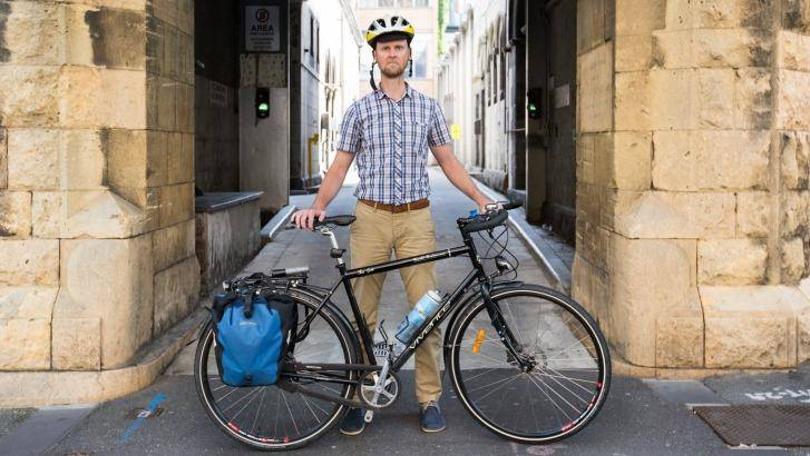 Cyclist Simon Vincett regularly makes a nine-kilometre ride to work in the CBD Photo: Simon Schluter