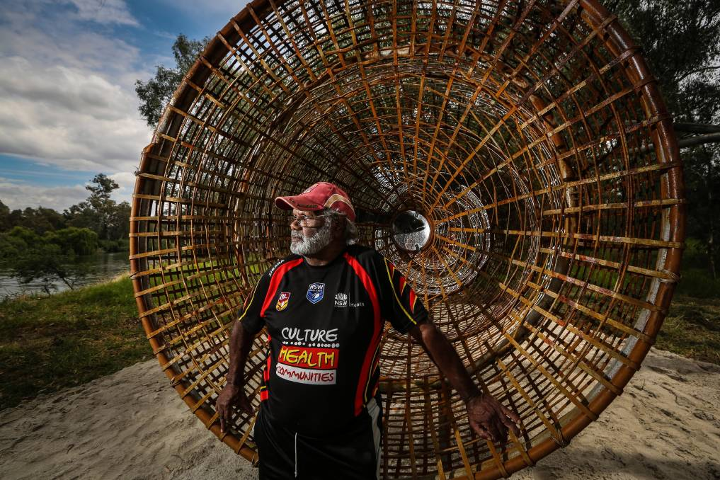 Uncle Ken Murray was one of the three artists involved with the Maya fish trap, part of the Wagirra Trail. Picture: DYLAN ROBINSON