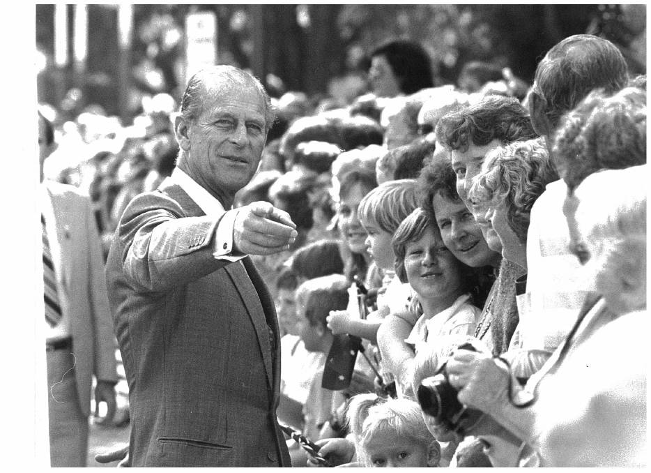 OF THE PEOPLE: Prince Philip Duke of Edinburgh talking to crowds of residents during the royal couple's May 1988 visit to Albury.