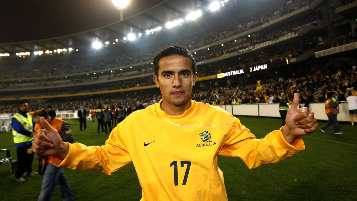 Tim Cahill celebrates after the World Cup Qualifier Match at the MCG in June, 2009. Photo: Justin McManus.