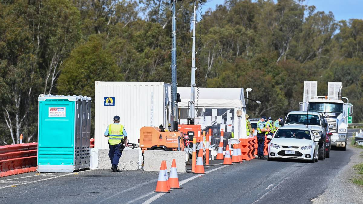 CHECKPOINT: Police at the border in Corowa.