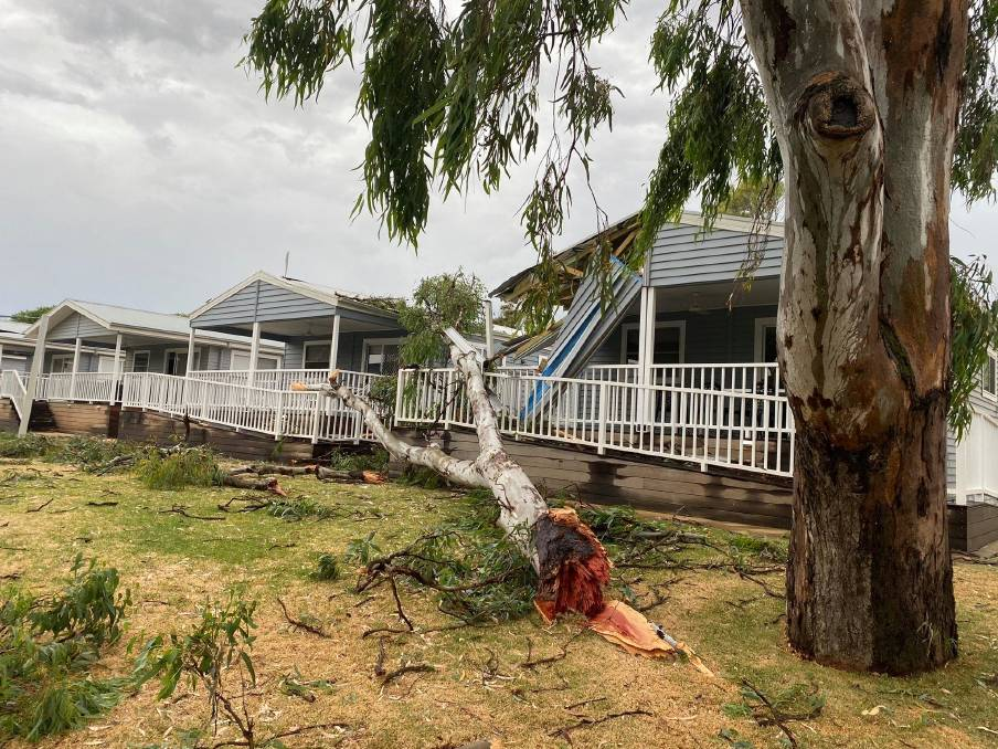 Damage at the Yarrawonga Holiday Park. Picture: VICTORIAN STORM CHASERS