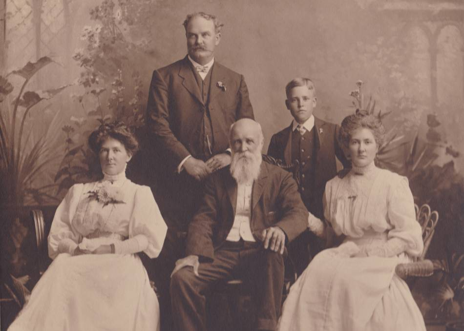 FINE CITIZEN: First president of Wodonga Shire, John Woodland (front centre), with his son, daughters and grandson.