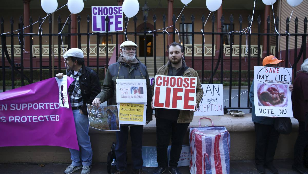 Emotive issue: Pro-life supporters outside Parliament House in Sydney last week ahead of debate on decriminalising abortion in NSW.