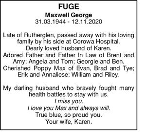 Fuge Maxwell George 31.03.1944 - 12.11.2020 Late of Ruthe