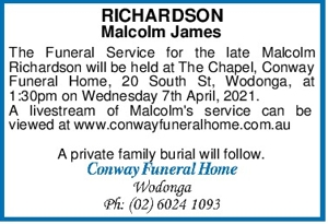 RICHARDSON Malcolm James The Funeral Service for the late Malc