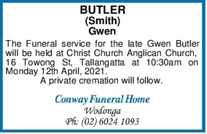 BUTLER (Smith) Gwen The Funeral service for the late Gwen Butl