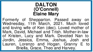 DALTON (O'Connell) Elaine Mary Formerly of Shepparton. Passed