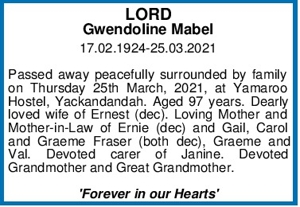 LORD Gwendoline Mabel 17.02.1924-25.03.2021   Passed away pea