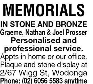 MEMORIALS  IN STONE AND BRONZE   Graeme, Nathan & Joel Pro