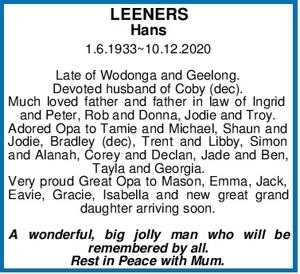 LEENERS Hans 1.6.1933~10.12.2020   Late of Wodonga and Geelon