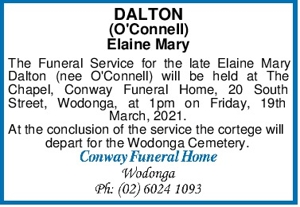 DALTON (O'Connell) Elaine Mary The Funeral Service for the lat