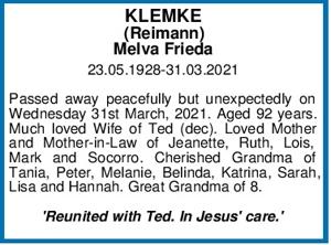 KLEMKE (Reimann) Melva Frieda 23.05.1928-31.03.2021   Passed