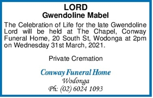 LORD Gwendoline Mabel The Celebration of Life for the late Gwe