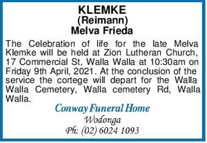 KLEMKE (Reimann) Melva Frieda The Celebration of life for the